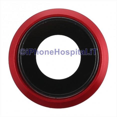 Lente Anello Vetro Vetrino Obbiettivo Camera Fotocamera per Apple iPhone 8 Rosso