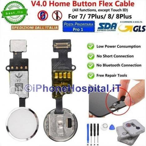 Flex Cable Ripristino Tasto Home per iPhone 7/ 7P /8 / 8P Argento(Silver) Versione 4
