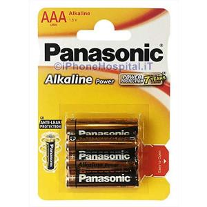 4 Pile Batterie Pila Batteria Alkalina Ministilo AAA Panasonic LR03 in Blister