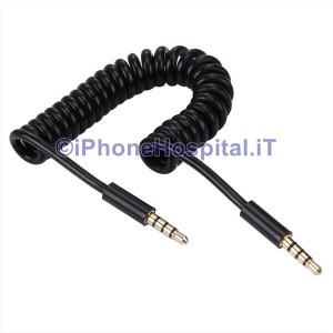 Cavo Audio AUX Spirale Retraibile iPhone, iPad,Samsung,laptop iPod, MP3, MP4, 1m