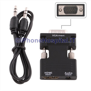 Adattatore Convertitore HDMI Femmina a VGA a Maschio con Uscita Audio