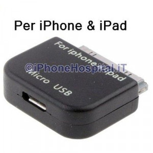 Adattatore Convertitore Micro USB pe iPhone 4,4S,3GS/3G,iPad 2/iPad 3,iPod Touch