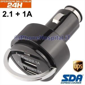 Caricatore da auto con doppia porta USB da 3.1A (2.1 + 1A) con anello di estrazione a strappo