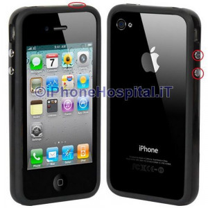 Bumper in silicone semi-rigido Nero per iPhone 4