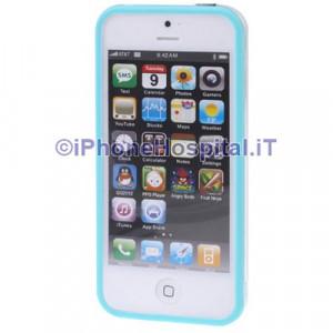 Bumper Iphone 5 Trasparente con bordo azzurro