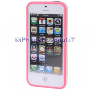 Bumper Iphone 5 Trasparente con bordo rosa