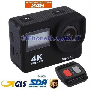 """Videocamera di Azione WiFi con Schermo 2""""4K 12.0MP Telecomando Impermeabile 30MT"""