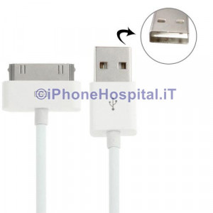 Cavo Caricabatterie 2MT 30 Pin a USB Bianco per Apple Iphone 3 4 4S Ipad Ipod