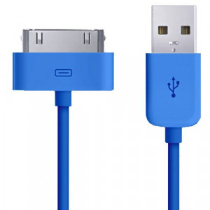 Cavo Caricabatterie Da 30 Pin a USB - Blue - Apple Iphone 3 4 4S Ipad Ipod