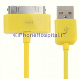 Cavo Caricabatterie Da 30 Pin a USB - Giallo - Apple Iphone 3 4 4S Ipad Ipod