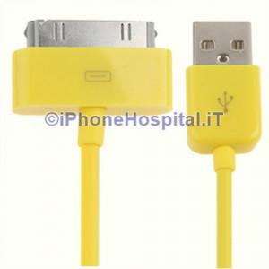 Cavo Caricabatterie Da 30 Pin a USB - Giallo - Apple Iphone 3 4 4S Ipad Ipod