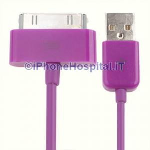 Cavo Caricabatterie Da 30 Pin a USB - Porpora - Apple Iphone 4 4S Ipad Ipod