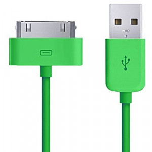 Cavo Caricabatterie Da 30 Pin a USB - VERDE - Apple Iphone 4 4S Ipad Ipod - Caricatore - Sincronizzazione