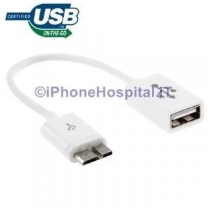 Cavo OTG per Samsung Galaxy S5 / G900 Note III / N9000 colore Bianco