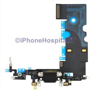 Connettore Ricarica Jack Cuffie Microfono Antenna Nero per iPhone 8