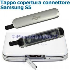 Coperchio Tappo Sportellino USB Connettore di Ricarica Grigio Silver Galaxy S5