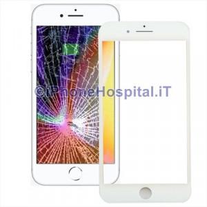 Cornice Frame con Vetro Anteriore e Foglio Oca per Apple iPhone 8 Bianco