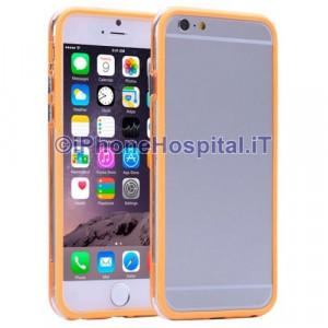 Custodia Bumper Arancio Bordo Trasparente per Apple iPhone 6 A1586