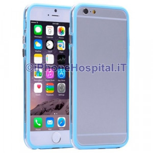 Custodia Bumper Azzurro Bordo Trasparemnte per Apple iPhone 6 A1586
