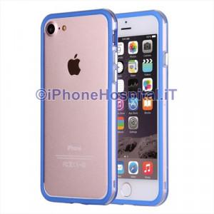 Custodia Bumper Blu Bordo Trasparente per Apple iPhone 7