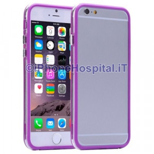 Custodia Bumper Trasparente Porpora per Apple iPhone 6 Plus