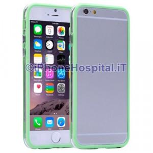 Custodia Bumper Verde Bordo Trasparente per Apple iPhone 6 A1586