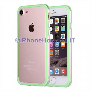 "Custodia Bumper Verde Bordo Trasparente per Apple iPhone 7 4,7"""
