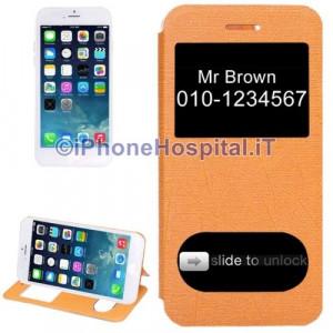 """Custodia Orizzontale con Doppia Apertura Frontale color Arancio per iPhone 6 4,7"""""""