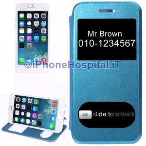 """Custodia Orizzontale con Doppia Apertura Frontale color Azzurro per iPhone 6 4,7"""""""