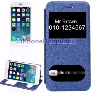 Custodia Orizzontale con Doppia Apertura Frontale color Blue per iPhone 6 4,7""