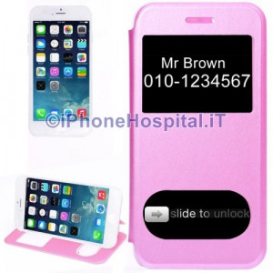 """Custodia Orizzontale con Doppia Apertura Frontale color Rosa ( Pink ) per iPhone 6 4,7"""""""