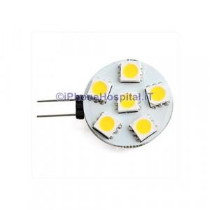 G4 2-6x5050 2.5W SMD 60-70lm 2800-3200K luce bianca calda lampadina spot (12v)