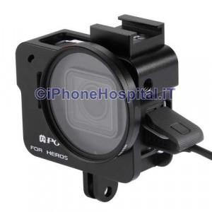 Guscio Case Protettivo per GoPro Hero 5 Black Silver in Alluminio Color Nero + Lente 52mm UV
