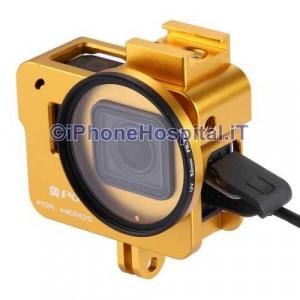 Guscio Case Protettivo per GoPro Hero 5 in Alluminio (ORO) + Lente 52mm UV