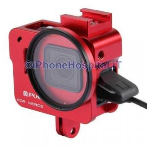 Guscio Case Protettivo per GoPro Hero 5 in Alluminio Rosso + Lente 52mm UV