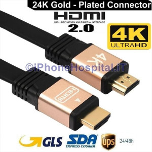 Cavo HDMI Oro 3,0m Ultra Full Hd 4K 2160p V2.0 Ethernet Alta Velocita TV SKY PS4