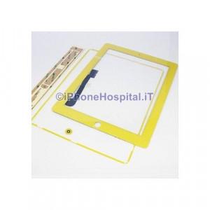 iPad 4 Touch Screen Giallo Completo di Tasto Home Cornice e Adesivi Incollaggio