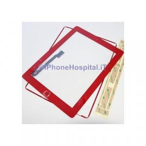 iPad 4 Touch Screen Rosso Completo di Tasto Home Cornice e Adesivi Incollaggio