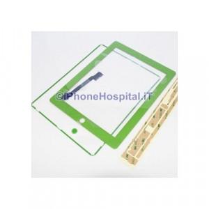 iPad 4 Touch Screen Verde Completo di Tasto Home Cornice e Adesivi Incollaggio