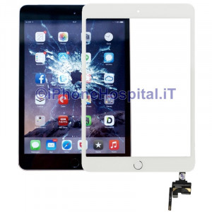 iPad Mini 3 Touch Screen Bianco Assemblato Tasto Home Bianco Bordo Silver