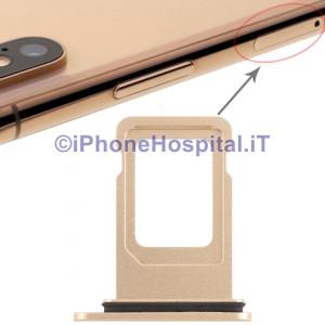 Slot Porta Sim Carrello Carrellino per Apple iPhone XR Colore Oro