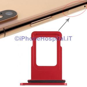 Slot Porta Sim Carrello Carrellino per Apple iPhone XR Colore Rosso