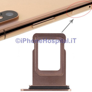 Slot Porta Sim Carrello Carrellino per Apple iPhone XS Max Oro ( Gold )