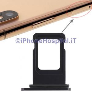 Slot Porta Sim Carrello Carrellino per Apple iPhone XR Colore Nero