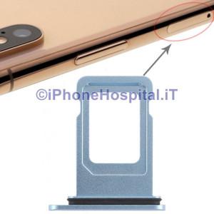 Slot Porta Sim Carrello Carrellino per Apple iPhone XR Colore Blue