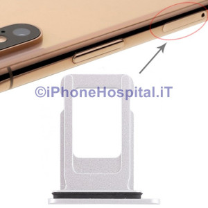 Slot Porta Sim Carrello Carrellino per Apple iPhone XR Colore Bianco
