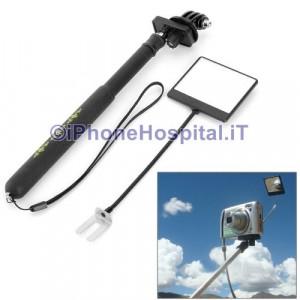 Palo Selfie estensibile 96 cm a scomparsa monopiede e adattatore con specchio per GoPro