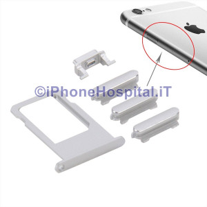 Porta Nano Sim + Volume Mute e ON OFF per Apple iPhone 6S & 6S Plus Silver