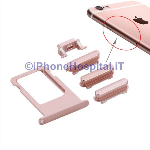 Porta Nano Sim + Volume Mute e ON OFF per Apple iPhone 6S & 6S Rosa Dorato