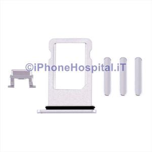 Porta Sim Card Slot + Tasti Volume,Accensione, Mute Argento per Apple iPhone 8